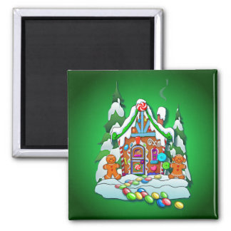 MERRY CHRISTMAS GINGERBREAD HOUSE by SHARON SHARPE 2 Inch Square Magnet