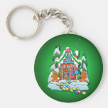 MERRY CHRISTMAS GINGERBREAD HOUSE by SHARON SHARPE Basic Round Button Keychain