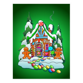 MERRY CHRISTMAS GINGERBREAD HOUSE by SHARON SHARPE Post Card