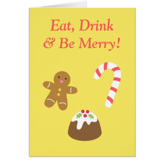 Merry Christmas Gingerbread Man, Candy, Pudding Card