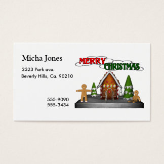Merry Christmas Gingerbread Scene Business Card