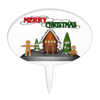 Merry Christmas Gingerbread Scene Cake Topper