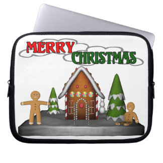Merry Christmas Gingerbread Scene Laptop Sleeve