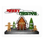 Merry Christmas Gingerbread Scene Postcard