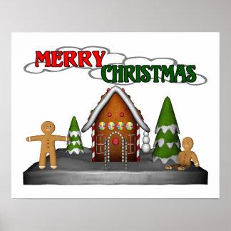 Merry Christmas Gingerbread Scene Print