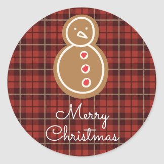 Merry Christmas Gingerbread Snowman Plaid Classic Round Sticker