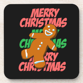 Merry Christmas Gingerman Coaster