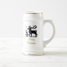 Merry Christmas Girl And Reindeer Stein at Zazzle
