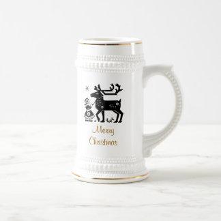 Merry Christmas Girl and Reindeer Stein