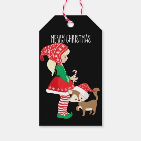 Merry Christmas Girl Elf and Christmas Cat Gift Tags