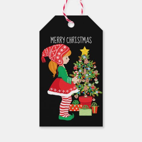 Merry Christmas Girl Elf and Christmas Tree Gift Tags