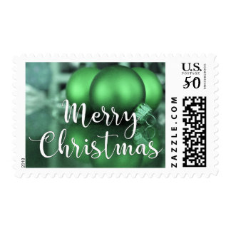 Merry Christmas Glass Ornaments Green-Toned Photo Postage
