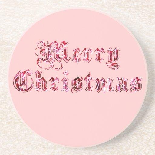 Merry Christmas Glitter Beverage Coaster