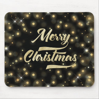 Merry Christmas Glitter Bokeh Gold Black Mouse Pad