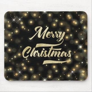 Merry Christmas Glitter Bokeh Gold Black Mouse Pad