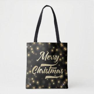 Merry Christmas Glitter Bokeh Gold Black Tote Bag