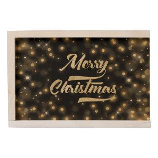 Merry Christmas Glitter Bokeh Gold Black Wooden Keepsake Box