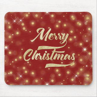 Merry Christmas Glitter Bokeh Gold Red Mouse Pad