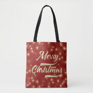 Merry Christmas Glitter Bokeh Gold Red Tote Bag
