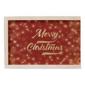 Merry Christmas Glitter Bokeh Gold Red Wooden Keepsake Box