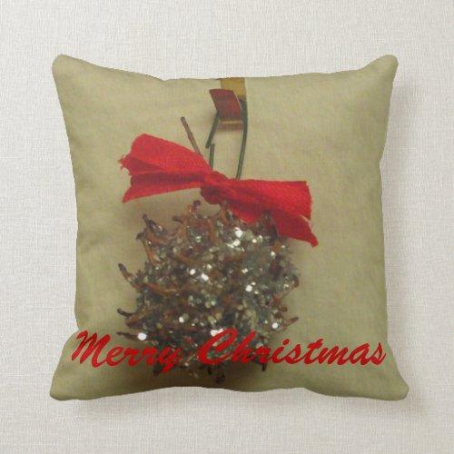 Merry Christmas Glitter Liquidambar Pod Pillow