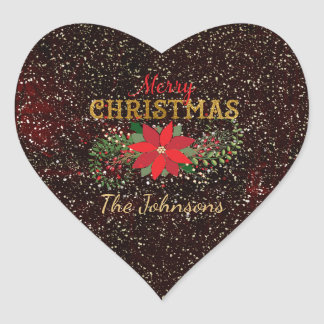 Merry Christmas Glitter Maroon Gold Heart Heart Sticker
