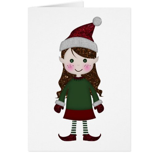 Merry Christmas Glittery Elf Girl Winter Red Green Card