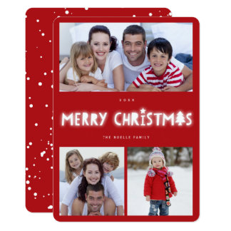 Merry Christmas Glow 3 Photo Collage Holiday Card