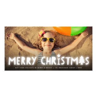 Merry Christmas Glow Modern Holiday Photo Card
