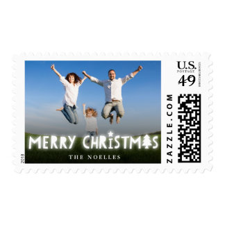 Merry Christmas Glow Modern Holiday Photo Stamps