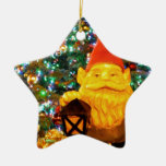 Merry Christmas Gnome Double-Sided Star Ceramic Christmas Ornament
