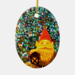 Merry Christmas Gnome Double-Sided Oval Ceramic Christmas Ornament