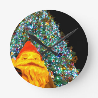 Merry Christmas Gnome Round Clock