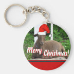 MERRY CHRISTMAS GOAT GREETINGS BASIC ROUND BUTTON KEYCHAIN