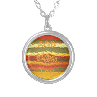 Merry Christmas God Bless You Colors Design Round Pendant Necklace