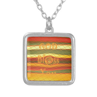 Merry Christmas God Bless You Colors Design Square Pendant Necklace
