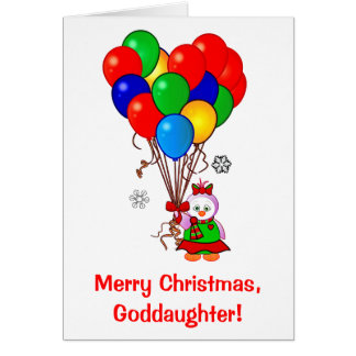 Merry Christmas Goddaughter Penguin with Balloons Card
