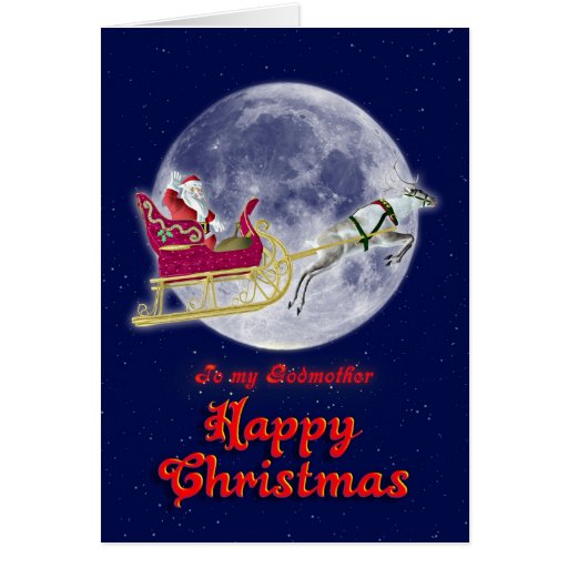 Merry Christmas godmother, santa in his sleigh Card