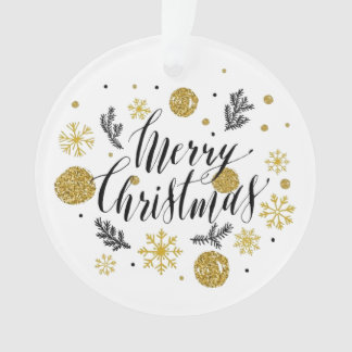 Merry Christmas Gold and Black Ornament