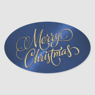 Merry Christmas Gold and Blue Embossed Look Oval Sticker