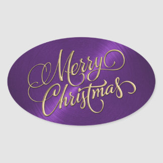 Merry Christmas Gold and Purple Embossed Look Oval Sticker