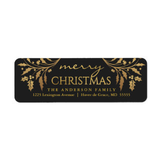 Merry Christmas Gold & Black Holly Return Address Label