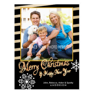 Merry Christmas, Gold & Black Photo Christmas Postcard
