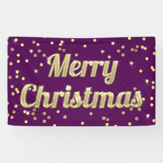 Merry Christmas Gold Bling Confetti Purple Banner