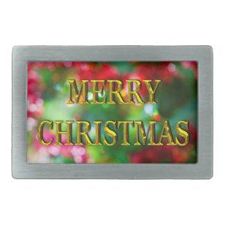 Merry Christmas Gold Bokeh Belt Buckle