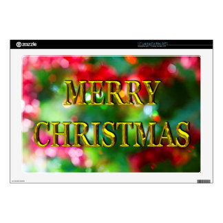 Merry Christmas Gold Bokeh Laptop Decals