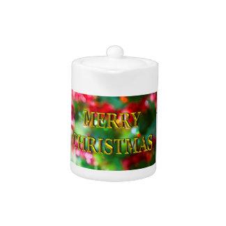 Merry Christmas Gold Bokeh Tea Pot