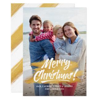 Merry Christmas Gold Brush Stroke Christmas Photo Card