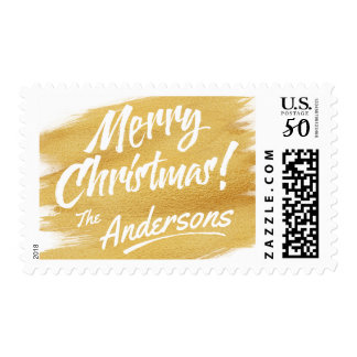 Merry Christmas Gold Brush Stroke Holiday Postage