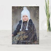 Merry Christmas | Gold Confettie | 2 Photos Card